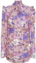 Magda Butrym Neck Tie Floral Mini Dress