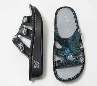 Alegria Leather Slip-On Sandals with Strap Detail - Dinah