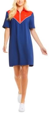 Lacoste Colorblocked Quarter-Zip Polo Dress