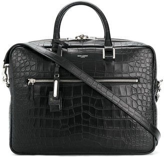 Saint Laurent Crocodile Embossed Briefcase