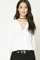 Forever 21 FOREVER 21+ Ribbed Knit Lace-Up Sweater