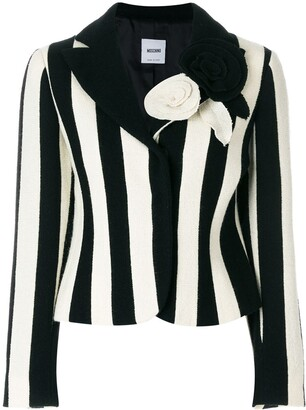 Moschino Pre-Owned Flower Appliquee Striped Blazer