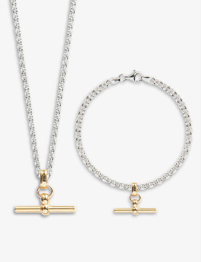 Thumbnail for your product : Tilly Sveaas Belcher T-bar 23.5ct yellow gold-plated sterling-silver bracelet and necklace set