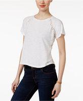 Calvin Klein Jeans Lace-Trim Raglan-Sleeve Top
