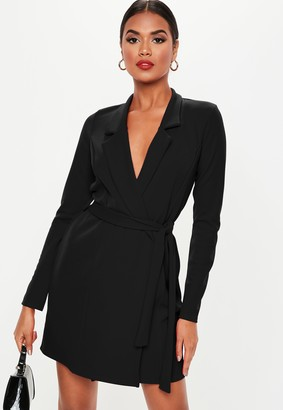 Missguided Black Basic Jersey Belted Blazer Dress