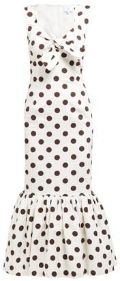 Rebecca De Ravenel Polka Dot-print Cotton-poplin Midi Dress - Womens - White Multi