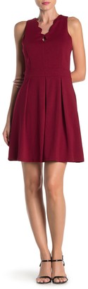 Adelyn Rae Scallop V-Neck Fit & Flare Dress
