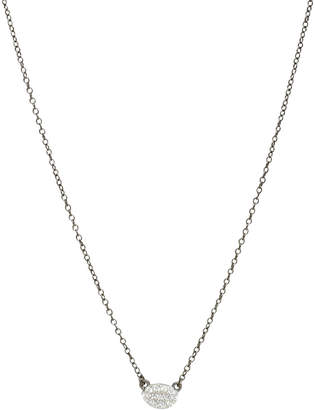 Freida Rothman Tiny Pave Oval Disc Necklace w/Black Chain