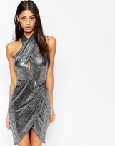 Asos Liquid Metallic Drape Mini Dress