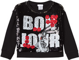 Fun & Fun Black Sequin Bugs Bunny Cropped Sweatshirt