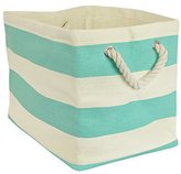 DII Woven Paper Textured Storage Basket, Collapsible & Convenient Storage Solution for Office, Bedroom, Closet, Toys, Laundry - Small, Aqua Stripe