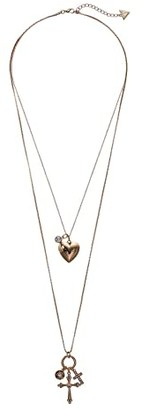 GUESS 2 Row High-Low Dainty Heart Charm Necklace