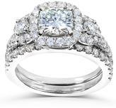 Kobelli Jewelry 2 1/7 CT TW Forever One Moissanite and Diamond 14K White Gold 2-Piece Halo Bridal Set