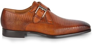 Magnanni Cuero Monk-Strap Croc-Embossed Leather Derbys