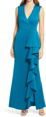 Eliza J Ruffle Stretch Satin Gown