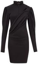 Isabel Marant Divya Puff-sleeve Ruched Wool-jersey Dress - Womens - Black