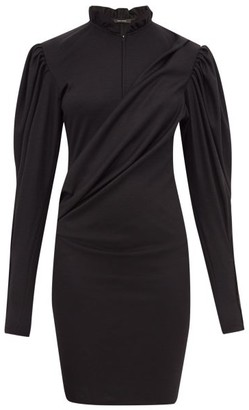 Isabel Marant Divya Puff-sleeve Ruched Wool-jersey Dress - Black