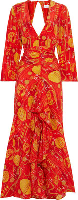 Rixo Rose Ruffled Chiffon-paneled Printed Silk Crepe De Chine Maxi Dress