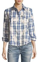 AG Adriano Goldschmied Beth Washed Grid-Print Snap-Front Cotton Shirt