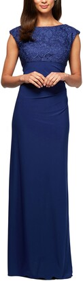 Alex Evenings Ruched Column Gown