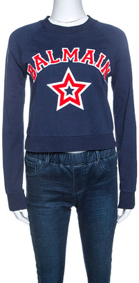 Balmain Navy Blue Logo Embroidered Knit Cropped Top S