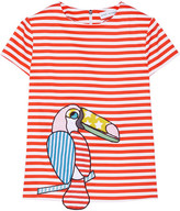 Mira Mikati Appliquéd Striped Stretch-cotton Top - Red