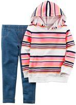 Carter's Toddler Girl French Terry Striped Hoodie & Jeggings Set