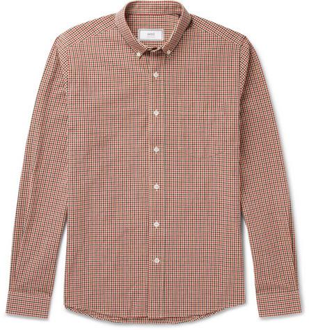 Ami Slim-fit Button-down Collar Gingham Cotton Oxford Shirt