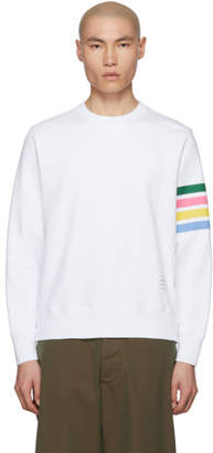 Thom Browne White Jersey 4-Bar Sweatshirt