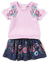 Flapdoodles Little Girls 2T-6X Cold-Shoulder Top & Floral-Print Skort Set