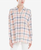 Max Studio London Crinkled Plaid Shirt
