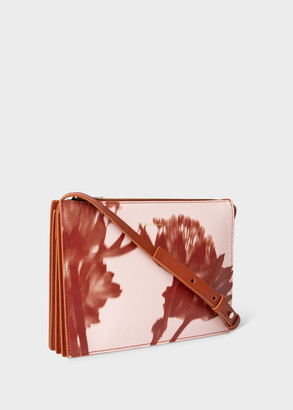 Paul Smith Women's Pink 'Screen Print Floral' Leather 'Concertina' Cross-Body Bag