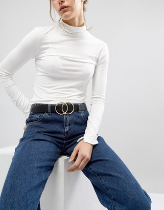 Asos DESIGN leather double circle waist and hip jeans belt