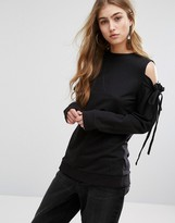 Daisy Street Cold Shoulder Top With Tie Sleeve Details