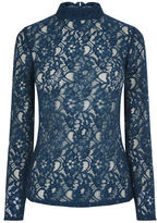 "Oasis LACE TURTLENECK TOP [span class=""variation_color_heading""]- Mid Blue[/span]"