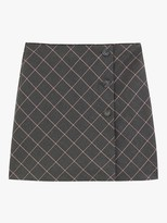 Oasis Check Mini Skirt, Multi Grey