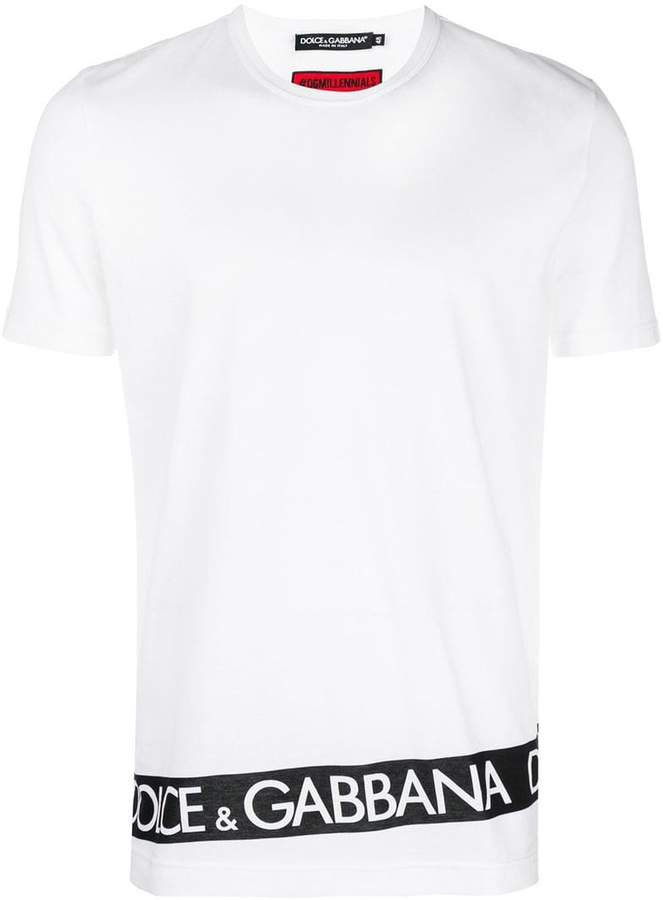 Dolce & Gabbana logo print stripe T-shirt