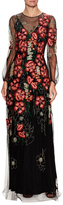 Jenny Packham Chiffon Floral Applique Gown