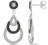 Julie Leah 2/5 CT TW Black and White Diamond Two-Tone Sterling Silver Dangle Earrings