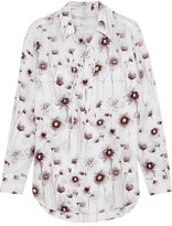 Equipment Knox Lace-up Floral-print Washed-silk Shirt - White