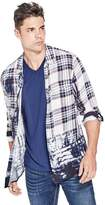 GUESS Slim Fit Ink Plaid Western Shirt