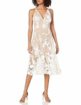 Dress the Population Women's Aurora Lace Plunging Spaghetti Strap Midi Sheath Dress