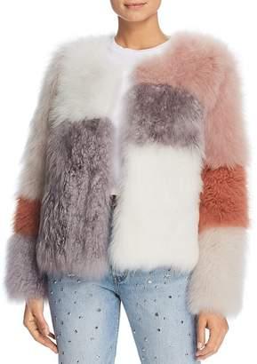 Maximilian Furs Check Short Cashmere Lamb Shearling Coat - 100% Exclusive