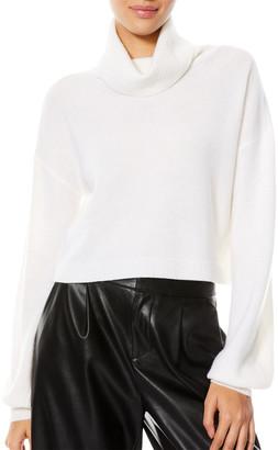 Alice + Olivia Ansley Cashmere Blouson-Sleeve Turtleneck Sweater