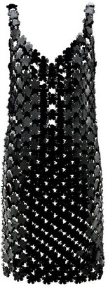 Paco Rabanne Pvc Flower-paillette Chainmail Dress - Black