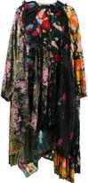 Balenciaga frilled neckline patchwork dress