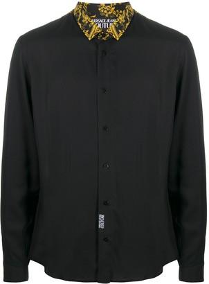 Versace Logo Baroque-print panelled shirt
