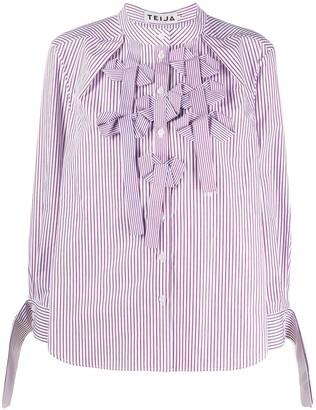 Teija Bow-Neck Striped Shirt