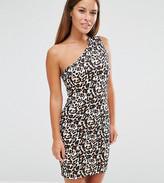 Asos One Shoulder Mini Dress in Animal Print