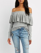Charlotte Russe Ruffle Off-The-Shoulder Sweater